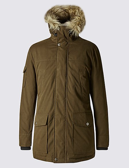 Cotton Blend Faux Fur Parka with Stormwear™