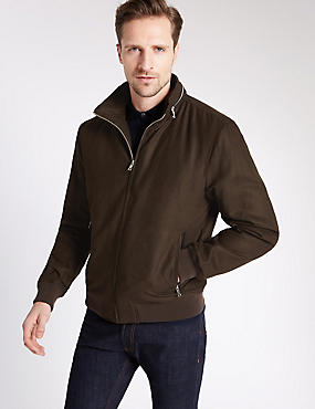 Wadded Bomber Jacket with Concealed Hood