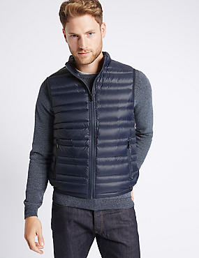 Down & Feather Gilet with Stormwear™, MIDNIGHT NAVY, catlanding