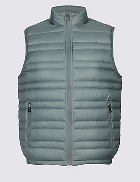 Down & Feather Gilet with Stormwear™, KHAKI, catlanding