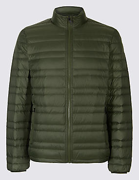 Down & Feather Jacket with Stormwear™, OLIVE, catlanding