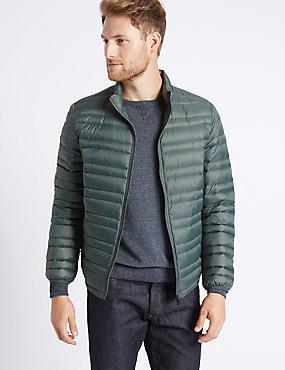 Down & Feather Jacket with Stormwear™, KHAKI, catlanding