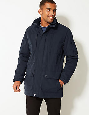 Cotton Blend Jacket with Stormwear™, NAVY, catlanding