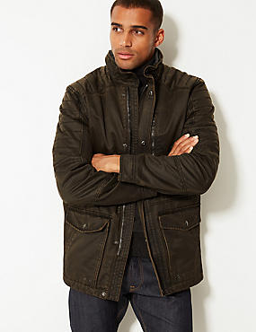 Washed Cotton Blend Parka