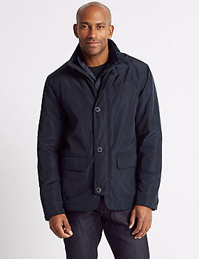 Double Collar Jacket with Stormwear™, NAVY, catlanding