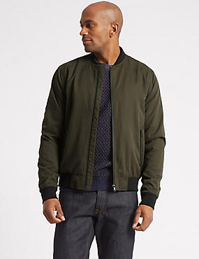 Zipped Through Bomber Jacket with Stormwear™, KHAKI, catlanding
