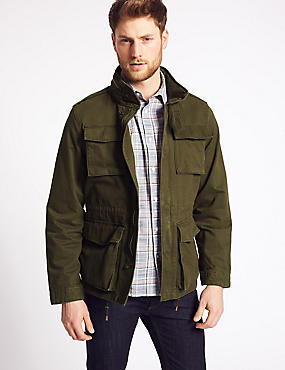 Pure Cotton 4 Pocket Jacket with Stormwear™, KHAKI, catlanding