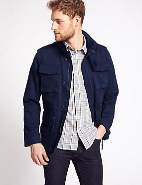 Pure Cotton 4 Pocket Jacket with Stormwear™, INDIGO, catlanding