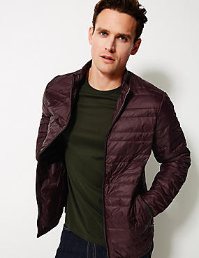 Down & Feather Jacket with Stormwear™, WINE, catlanding