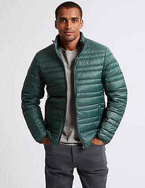 Down & Feather Jacket with Stormwear™, GREEN, catlanding