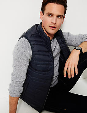 Down & Feather Gilet with Stormwear™, NAVY, catlanding
