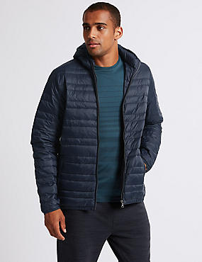 Hooded Down & Feather Jacket, NAVY, catlanding