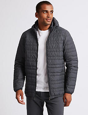 Hooded Down & Feather Jacket, GREY MIX, catlanding