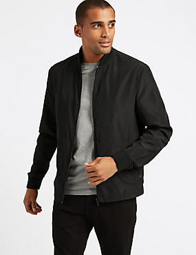 Baseball Neck Bomber Jacket, BLACK, catlanding