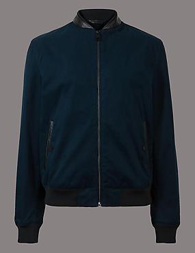Cotton Rich Bomber Jacket with Stormwear™, NAVY, catlanding