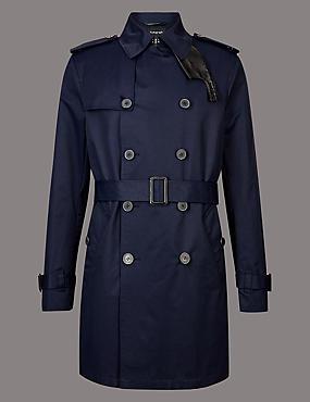 Cotton Rich Trench Coat with Stormwear™, DARK NAVY, catlanding
