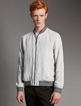 Pure Linen Bomber Jacket