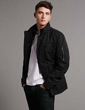 Leather Trim Jacket with Stormwear™
