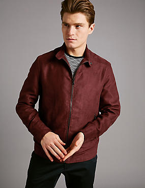 Mock Suede Harrington Bomber Jacket