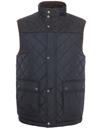 Slim Fit Quilted & Panelled Gilet Clothing