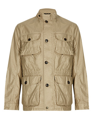 Pure Linen Waxed Safari Jacket Clothing