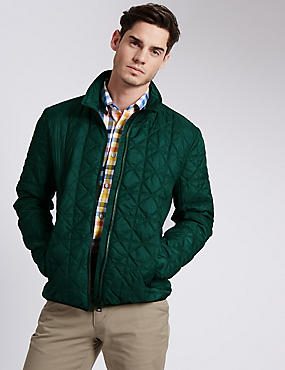 Tailored Fit Quilted Bomber Jacket