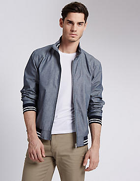 Chambray Cotton Bomber Jacket