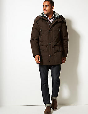 Down & Feather Parka with Stormwear™, TOBACCO, catlanding