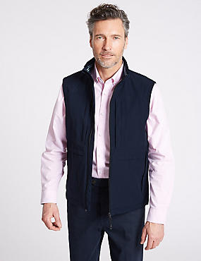 Zipped Through Gilet with Stormwear™, NAVY, catlanding