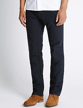 Pure Cotton Regular Fit Moleskin Trousers, NAVY, catlanding