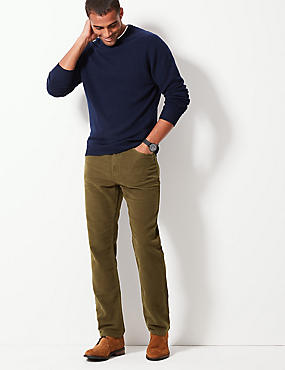 Italian Moleskin Regular Fit 5 Pocket Trousers, KHAKI, catlanding