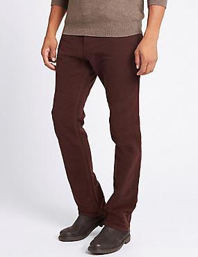 Italian Moleskin Regular Fit 5 Pocket Trousers, BURGUNDY, catlanding
