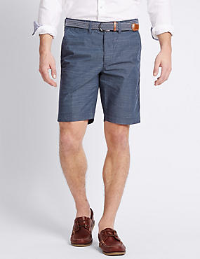 Pure Cotton Tailored Fit Belted Shorts