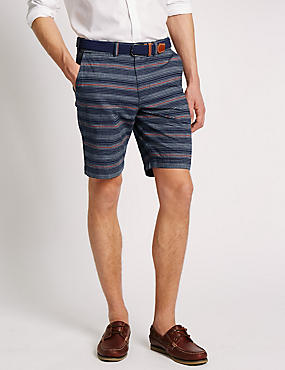 Pure Cotton Striped Chambray Shorts with Belt