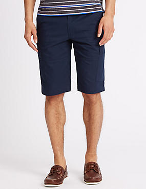 Cotton Rich Cargo Shorts with Stretch, NAVY, catlanding