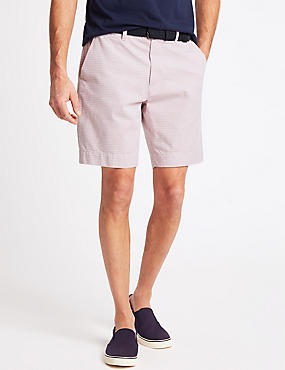 Pure Cotton Striped Shorts with Belt