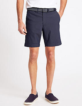 Cotton Rich Seersucker Striped Shorts, BLUE MIX, catlanding