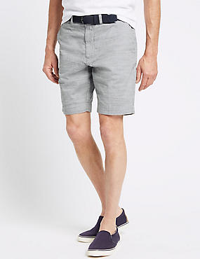 Pure Cotton Shorts with Belt, GREY MIX, catlanding