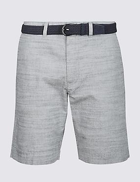 Pure Cotton Shorts with Belt, GREY MIX, catlanding