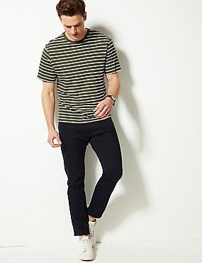 Slim Fit Stretch 5 Pocket Jeans, NAVY, catlanding