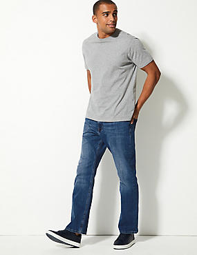 Straight Fit Washed Stretch Jeans