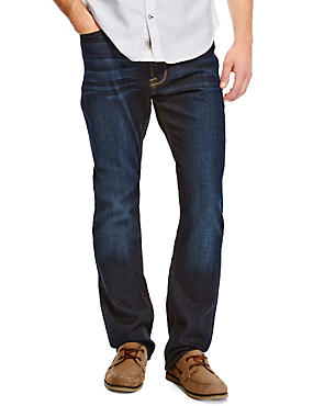 Washed Look Regular Fit Stretch Jeans