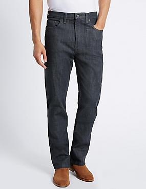 Big & Tall Regular Fit Stretch Jeans, GREY, catlanding