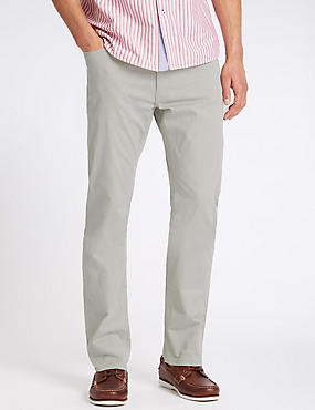 Straight Fit Cotton Rich Trousers