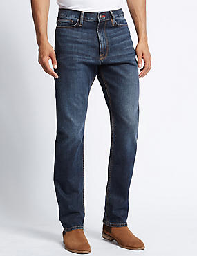 Regular Fit Washed Stretch Jeans