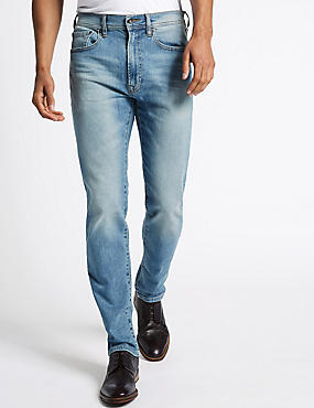 Tapered Fit Vintage Wash Jeans