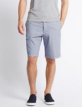Pure Cotton Seersucker Striped Shorts