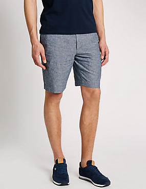 Linen Blend Chambray Chino Shorts