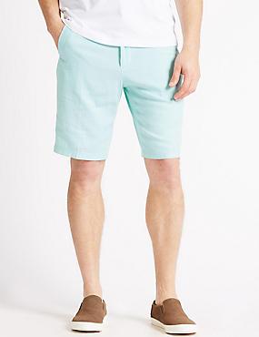 Linen Rich Shorts, TURQUOISE, catlanding