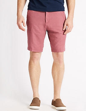 Linen Rich Shorts, ROSE, catlanding